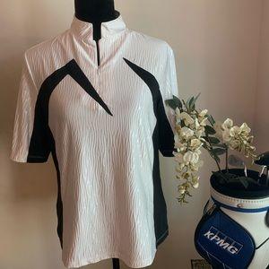JAMIE SADOCK Short Sleeve White/Black Golf Top